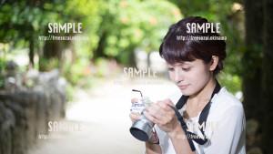 【フクギ並木通り】フクギと美少女 写真素材