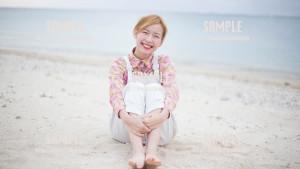 【糸満】海と笑顔の美少女 写真素材