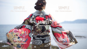 【西原】沖縄の成人式と海 写真素材