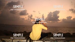 【サンセットビーチ】夕焼けと青年 写真素材