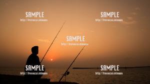 【南浜公園】赤い空と釣り人 写真素材
