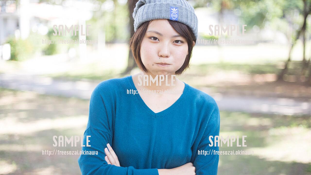 【緑ヶ丘公園】激おこプンプンな美少女 写真素材