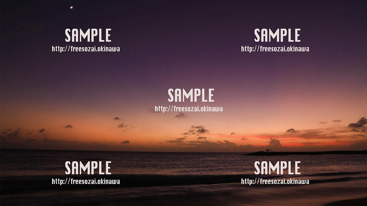 【豊崎ビーチ】夕陽のグラデーション 写真素材