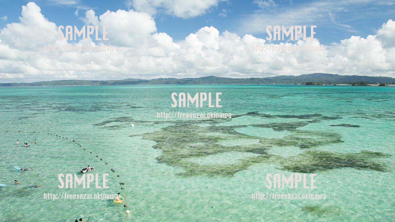 【古宇利島】透き通った海で海水浴 写真素材