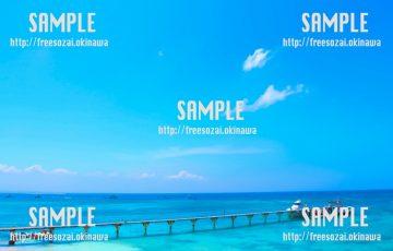 【沖縄】青い海と桟橋 写真素材