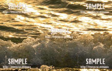 輝く波打ち際 写真素材