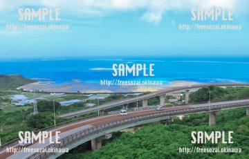 青空とニライカナイ橋 写真素材