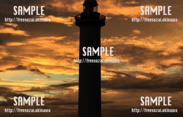 夕焼けと灯台 写真素材